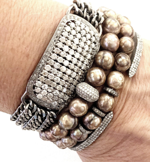 Coated Pearl Bracelet With Diamond Spacers - Caryn Michelle Designs
