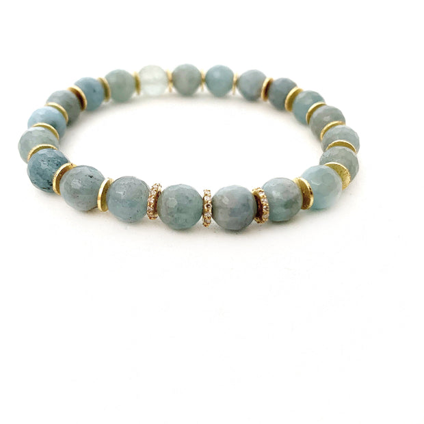 14k Gold Aquamarine Bracelet With Diamond Spacers - Caryn Michelle Designs