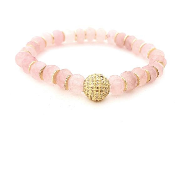 Pink Jade Bracelet With Gold Spacers - Caryn Michelle Designs