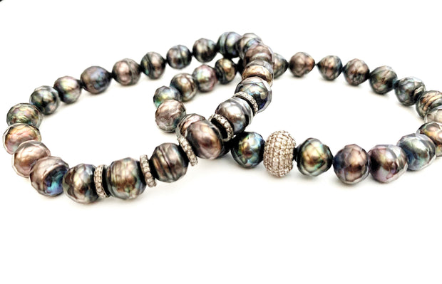 Carved Pearl Bracelet With Diamond Bead