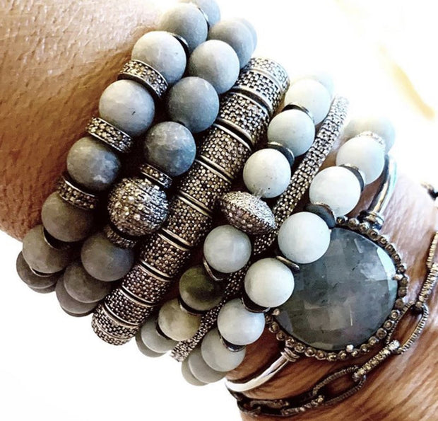 Matte Grey Agate Bracelet With Diamond Spacers - Caryn Michelle Designs
