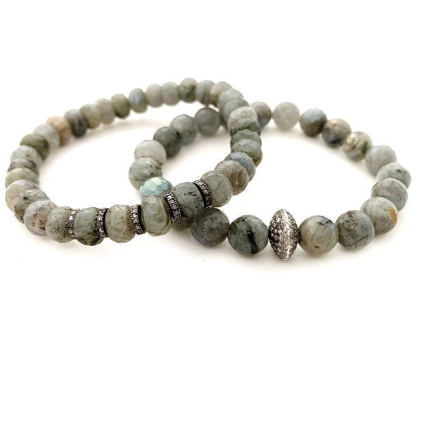 Labradorite Bracelet With Diamond Spacers - Caryn Michelle Designs