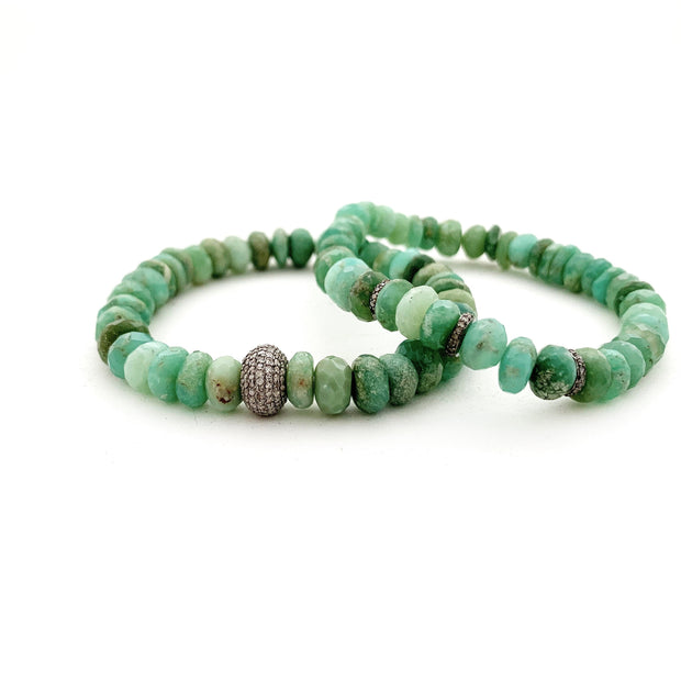 Chrysoprase Bracelet With Diamond Spacers, Bracelet Stack- Caryn Michelle Designs