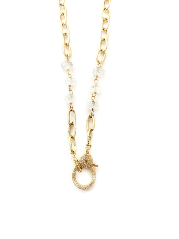 Gold and Moonstone Chain with Diamond Clasp