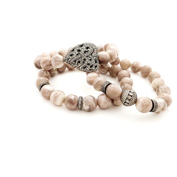Blush Moonstone Bracelet With Diamond Beads - Caryn Michelle Designs