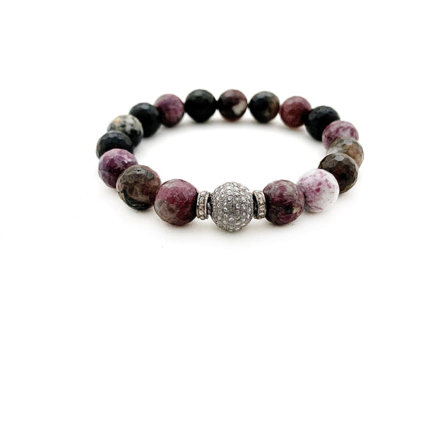 Natural Tourmaline Bracelet With Diamond Bead - Caryn Michelle Designs