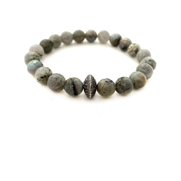 Labradorite Bracelet With Diamond Bead - Caryn Michelle Designs