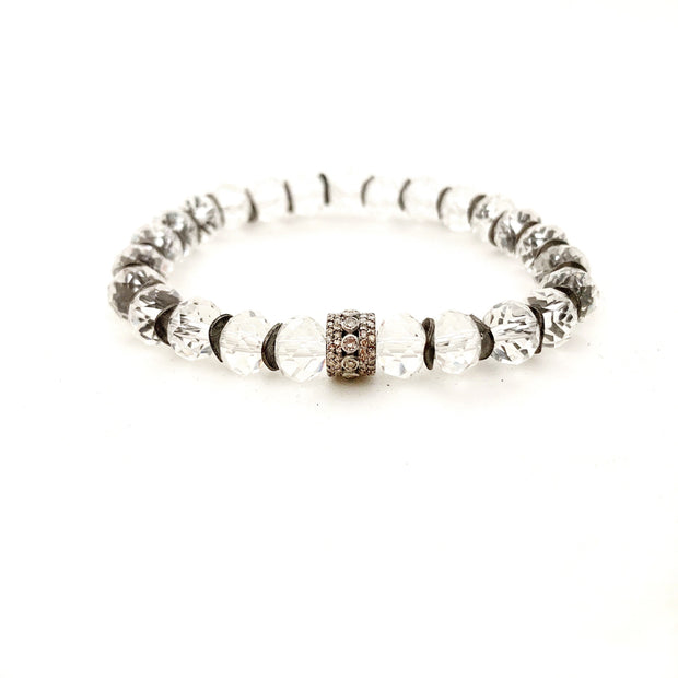 Crystal Quartz Bracelet With Diamond Bead - Caryn Michelle Designs