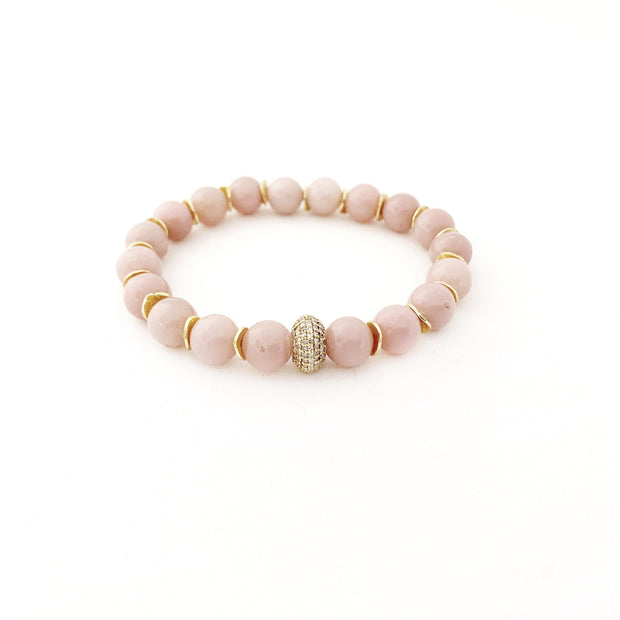 Pink Opal Bracelet with 14k Gold Bead - Caryn Michelle Designs