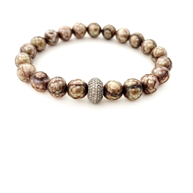 Coated Pearl Bracelet With Diamond Bead - Caryn Michelle Designs