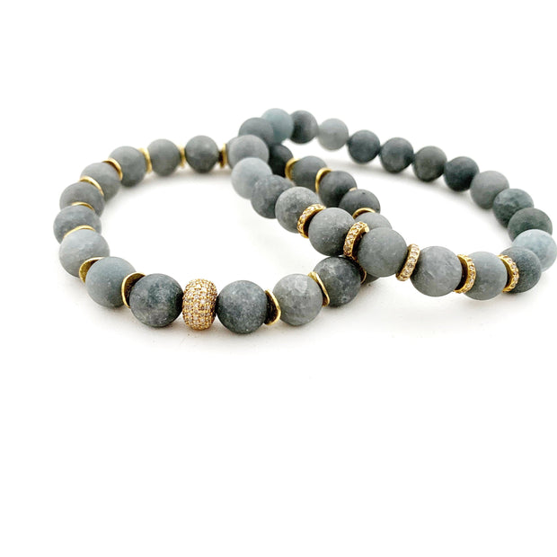 Matte Grey Agate Bracelet With 14k Gold Diamond Bead - Caryn Michelle Designs