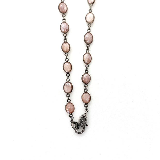 Pink Moonstone Chain With Diamond Clasp - Caryn Michelle Designs