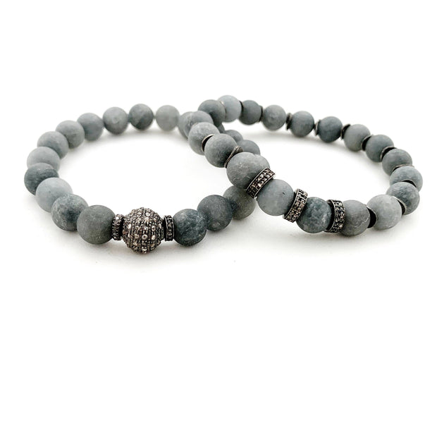 Matte Grey Agate With Diamond Bead - Caryn Michelle Designs