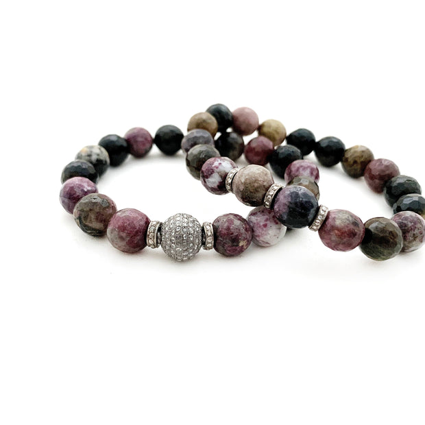 Natural Tourmaline Bracelet With Diamond Bead, Bracelet Stacking - Caryn Michelle Designs