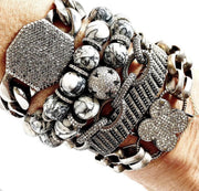 Pinolith Bracelet With Diamond Spacers, Diamond Bracelet Stack - Caryn Michelle Designs