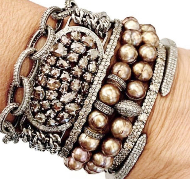 Coated Pearl Bracelet With Diamond Bead , Diamond Bracelet Stack- Caryn Michelle Designs