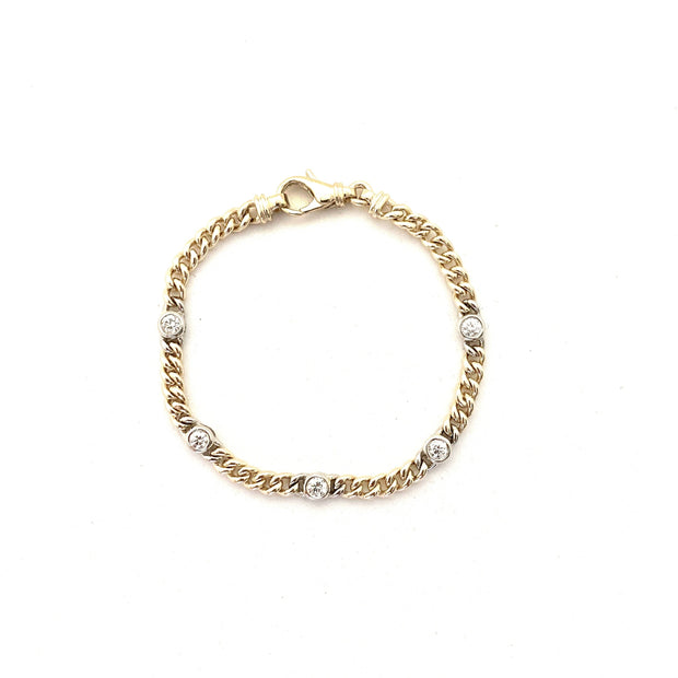 14k Gold Station Bracelet, Diamond station bracelet