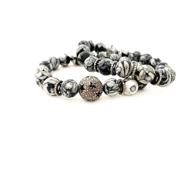 Pinolith Bracelet With Diamond Spacers - Caryn Michelle Designs
