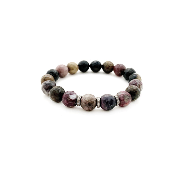 Natural Tourmaline Bracelet With Diamond Spacers - Caryn Michelle Designs