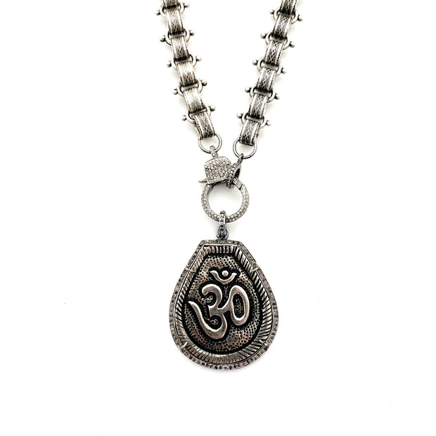 Ohm Pendant, Diamond Clasp, Bike Chain, Silver Chain - Caryn Michelle Designs