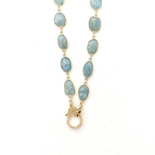 Aquamarine Gold Chain, Diamond Clasp - Caryn Michelle Designs