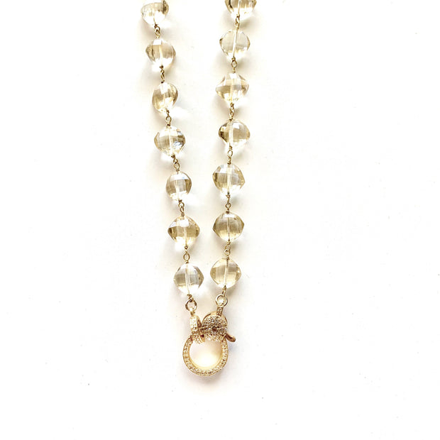 Citrine Gold Chain With Diamond Clasp - Caryn Michelle Designs