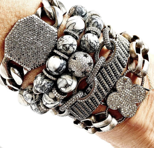Pinolith Bracelet With Diamond Beads - Caryn Michelle Designs