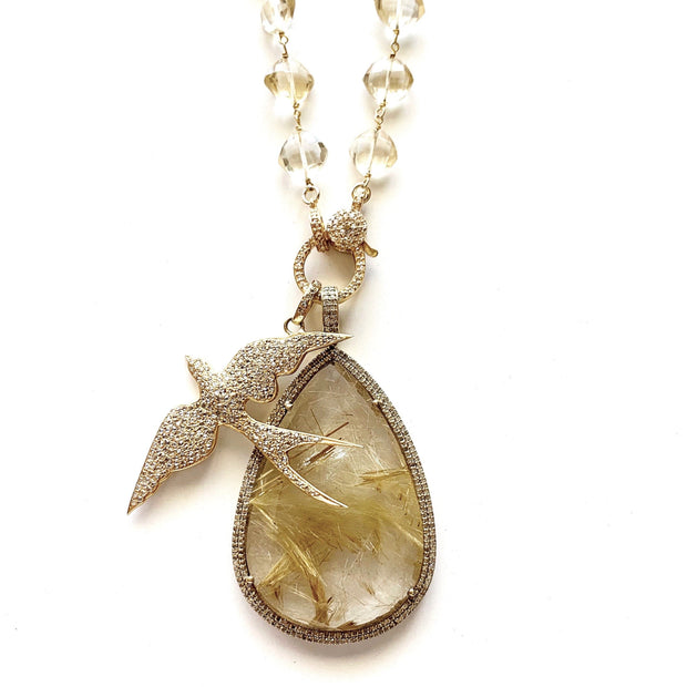 Citrine Gold Chain With Diamond Clasp, Bird Pendant - Caryn Michelle Designs
