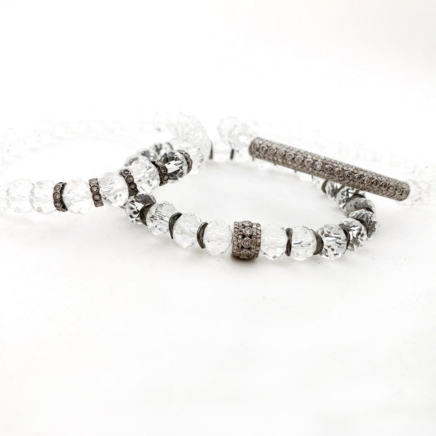 Crystal Quartz Bracelet With Diamond Bead, Bracelet Stack - Caryn Michelle Designs