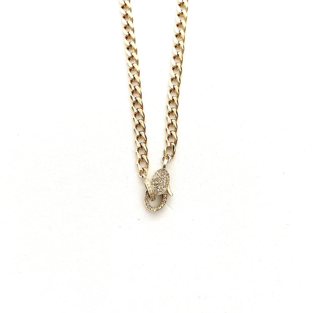 Gold Filled Curb Chain With Diamond Clasp - Caryn Michelle Designs