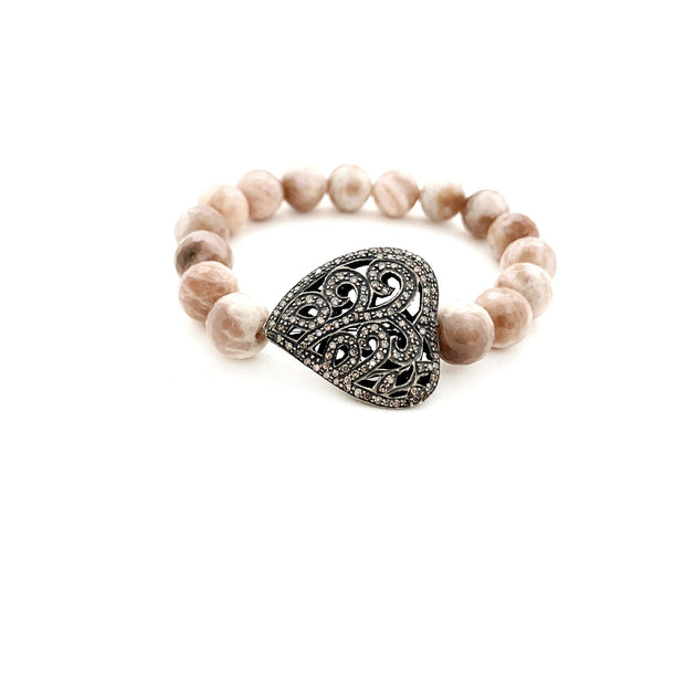 Blush Moonstone Bracelet With Diamond Heart - Caryn Michelle Designs