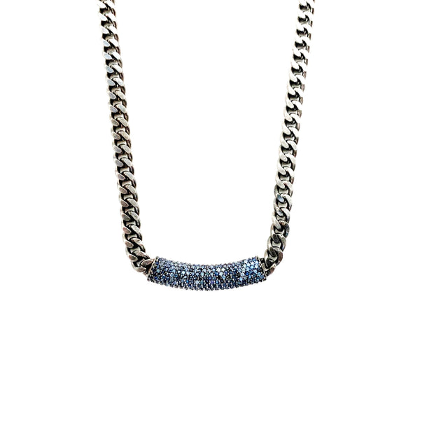 Sapphire Chain, Silver Necklace- Caryn Michelle Designs