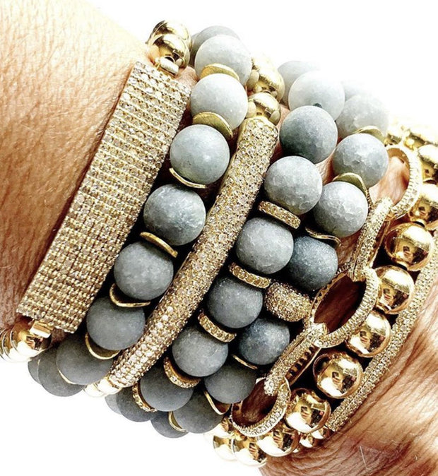 Matte Grey Agate Bracelet With 14k Gold Diamond Bead, Bracelet Stacking - Caryn Michelle Designs