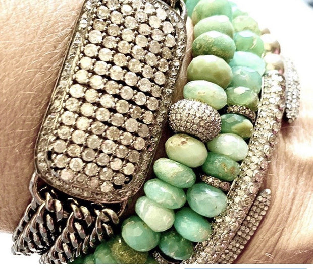 Chrysoprase Bracelet With Diamond Spacers, Bracelet Stack - Caryn Michelle Designs