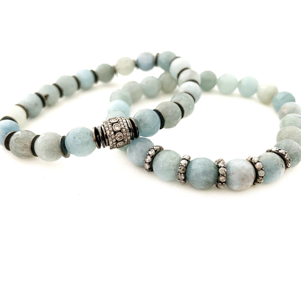Natural Aquamarine Bracelet, Bracelet Stacking- Caryn Michelle Designs