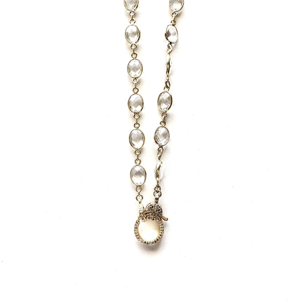 White Topaz Chain with Diamond Clasp - Caryn Michelle Designs