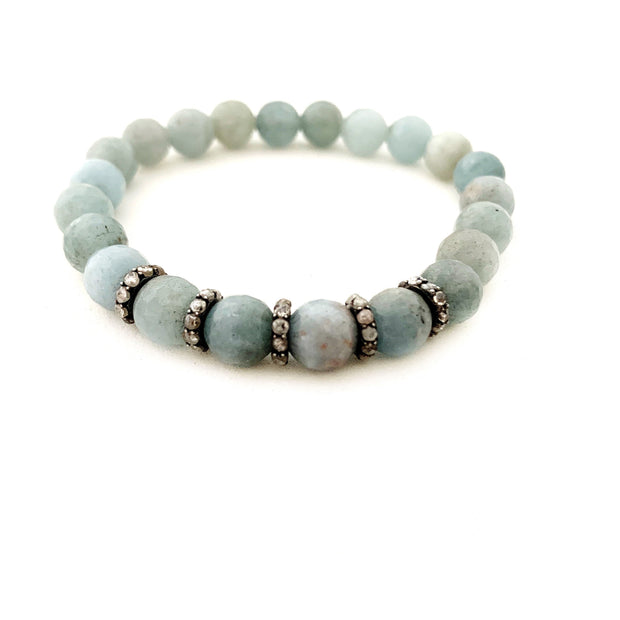 Natural Aquamarine Bracelet with Spacers - Caryn Michelle Designs