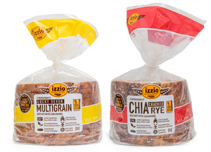 4 Packs of Izzio 8 Slice WHOLE GRAIN Variety - 2 x LUCKY SEVEN MULTIGRAIN + 2 x CHIA CRACKED RYE (2Day FedEx Express FREE Shipping!)