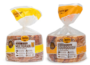 4 Packs of Izzio 8 Slice CLASSIC Variety - 2 x SAN FRANCISCO STYLE SOURDOUGH + 2 x LUCKY SEVEN MULTIGRAIN (Free Shipping!)