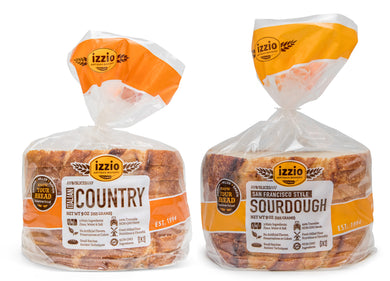 4 Packs of Izzio 8 Slice WHITE Variety - 2 x SAN FRANCISCO STYLE SOURDOUGH + 2 x ITALIAN COUNTRY (Free Shipping!)