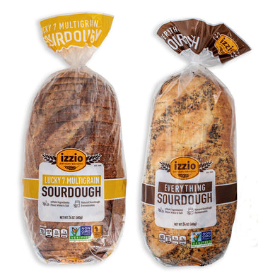 2 Packs of Izzio 24oz Sliced Sourdough - SEEDS & GRAINS Variety: 1 x EVERYTHING SOURDOUGH + 1 x LUCY 7 MULTIGRAIN (2Day FedEx Express FREE Shipping!)