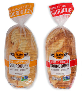 2 Packs of Izzio 24oz Sliced WHITE Variety: 1 x SAN FRANCISCO STYLE SOURDOUGH + 1 x RUSTIC POTATO SOURDOUGH (2Day FedEx Express FREE Shipping!)