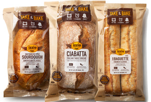 3 Packs of Izzio Take & Bake TRIO Variety: 1 x SAN FRANCISCO STYLE SOURDOUGH + 1 x CIABATTA + 1 x DEMI BAGUETTE 2 PACK (Free Shipping!)