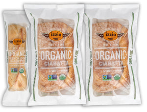 NEW!! 3 Packs of Izzio ORGANIC Take & Bake CIABATTA PLUS Variety: 2 x ORGANIC CIABATTA + 1 x ORGANIC DEMI FRENCH BAGUETTE (2Day FedEx Express FREE Shipping!)