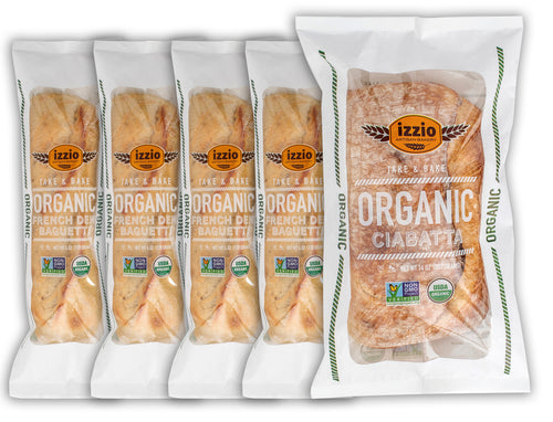 NEW!! 5 Packs of Izzio ORGANIC Take & Bake TABLE BREAD Variety: 1 x ORGANIC CIABATTA + 4 x ORGANIC DEMI FRENCH BAGUETTE (2Day FedEx Express FREE Shipping!)