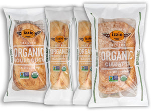 NEW!! 3 Packs of Izzio ORGANIC Take & Bake TRIO Variety: 1 x ORGANIC SOURDOUGH + 1 x ORGANIC CIABATTA + 1 x ORGANIC DEMI FRENCH BAGUETTE (2Day FedEx Express FREE Shipping!)