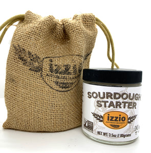 Izzio Sourdough Starter 3.5oz + 4 Packs of Izzio Premium Bread Flour 2LB: 2 X Plain Flour + 2 X Whole Wheat Flour (Free Shipping!)