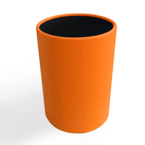 Pumpkin Orange Round Leather Wrapped Metal Wastebasket
