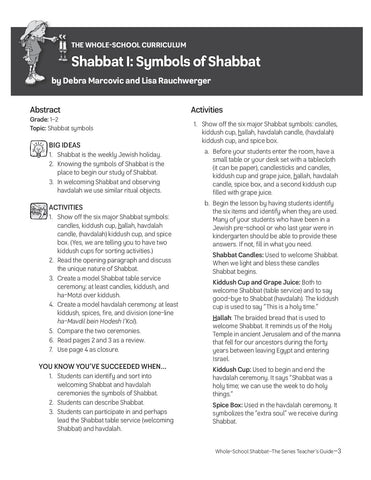Whole School Shabbat Teacher Guide