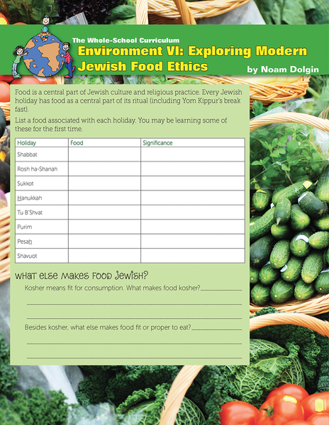 Whole School Environment 6: Modern Jewish Food Ethics
